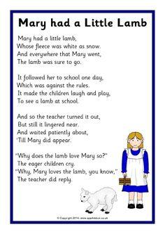Mary had a Little Lamb rhyme sheet - SparkleBox Rhyming Preschool, Nursery Rhymes Preschool, Rhyming Activities, Nursery Rhymes For Toddlers, Rhymes For Kids, Nursery Rhymes Lyrics, Nursery Rhymes Songs, Songs For Toddlers, Songs For Preschoolers
