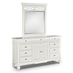 Plantation Cove White Kids Furniture Dresser U0026 Mirror   Value City Furniture