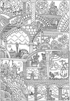 Dover Publications Creative Haven Insanely Intricate Entangled Landscapes Coloring Book Mas