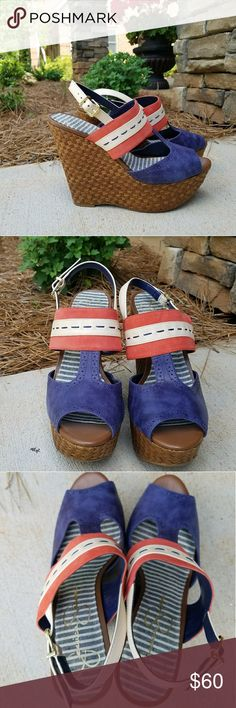 Jessica Simpson wedges Beautiful wedges, red white and blue. Just in time the Summer holiday season! Worn once. Excellent condition. Size 9. Come with original box. Jessica Simpson Shoes Wedges