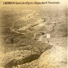 1916, Verdun, Ravin des Vignes. Trench of Quatre Chemineès.