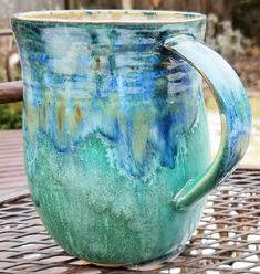 Mine - Mayco Celadon Bloom bottom, Mayco Midnight Rain top, Mayco Light Flux band around top Rain, Bloom, Pottery, Clay, Ceramics, Colors, Top, Decor, Rain Fall