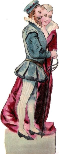 Oblaten Glanzbild scrap die cut chromo Paar  12,5 cm couple lady Kavalier femme
