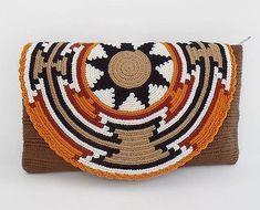 """Original"" Medium Wayuu Clutch Bag +""FREE"" Wayuu Bracelet +""FREE"" US Shipping ++ in Clothing, Shoes & Accessories, Women's Handbags & Bags, Handbags & Purses Tapestry Crochet Patterns, Crochet Mandala, Stitch Crochet, Crochet Chart, Crochet Purses, Crochet Tote, Homemade Bags, Crochet Patron, Tapestry Bag"