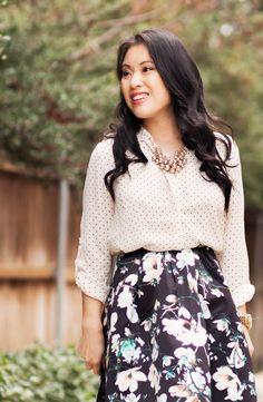 black floral skirt.  http://cuteandlittle.com | petite fashion blog | polka dot shirt, floral pleated skirt | dressy feminine spring outfit