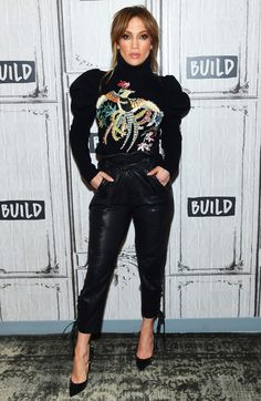 Jennifer Lopez in a Zuhair Murad sweater and leather pants