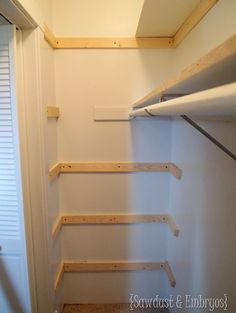 Build Shelves Inside the Ends of the Closet