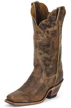 "Justin Womens Bent Rail 12"" Square Toe Cowboy Boots - Tan Road $144.00"