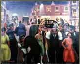 Black Belt (1930) by Archibald Motley. Modern in content(depictions of electric streetlamps, bright storefront advertising, automobiles, contemporary African American social culture in the Bronzeville neighborhood of Chicago), Modernist in composition (experimentation with perspective, stark contrasting of light and dark colors, splitting focus between specific figures and a general scene, and a kind of fractured composition). Posted by Taylor Hamrick