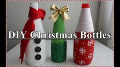 How to make Decorative Wine Bottles for Christmas Glitter Wine Bottles, Christmas Wine Bottles, Glass Bottle Crafts, Diy Bottle, Diy Christmas Videos, Christmas Diy, Diy Decoupage Tutorial, Wine Bottle Centerpieces, Youtube