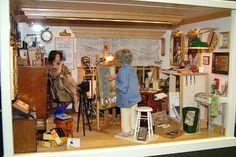 The Artist's Studio Miniature Houses, Mini Houses, Painters Studio, Barbie Diorama, Craft Rooms, Miniture Things, Small World, House Rooms, Art Studios
