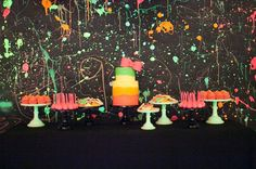 Neon 80's Birthday Party Dessert Table by http://jennycookies.com/2013/02/neon-80s-dessert-table/