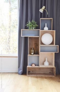 Upcycle old crates into a chic and stylish shelf.