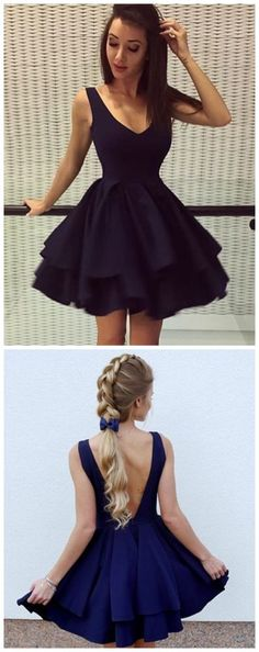 V Neck Black Satin Backless Homecoming Dress Short Prom Dress Party Gowns - Abendkleider Backless Homecoming Dresses, Prom Dresses Two Piece, Hoco Dresses, Prom Party Dresses, Party Gowns, Dance Dresses, Pretty Dresses, Beautiful Dresses, Formal Dresses