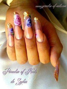 Flowers and glitter pipe nails, nail art Beautiful Nail Designs, Cute Nail Designs, Nails 2014, One Stroke Nails, Edge Nails, Chic Nails, Happy Nails, Coffin Shape Nails, Minimalist Nails
