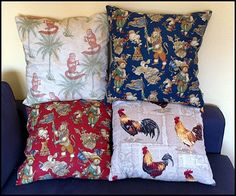 Raul, from Spain, sent pictures of some of his pillows.. love the centering of the lion king on the Medieval chess fabric, and also the placement of the cocks from the French rooster fabric... the monkey moon fabric makes me smile!