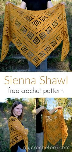 This free crochet triangle shawl pattern also comes with a step-by-step picture tutorial - making it super doable for everyone. Made with fingering weight yarn in your favorite color, this lacy crochet shawl is modern, stylish and casual at the same time. Crochet Shawl Free, Crochet Shawls And Wraps, Crochet Scarves, Crochet Clothes, Crochet Stitches, Knit Crochet, Crochet Vests, Crochet Designs, Crochet Patterns