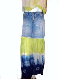 10 / 12  denim broomstick vintage skirt Boho by BellaroseSignature