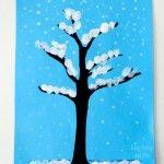 OkulÖncesi Parmak Baskı ile Kış Ağacı Yapımı
