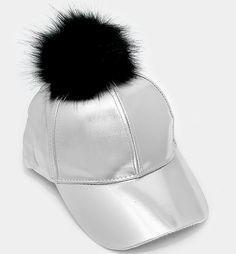 NEW One Size Silver & Black Fur Pom Pom Baseball Cap #Unbranded #BaseballCap