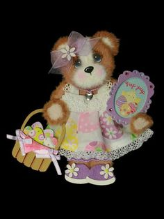 Easter Egg Basket Girl Tear Bear Paper Piecing for Premade Scrapbook Page