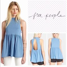 ONE DAY SALE!! Free People Blue Top  Free People Brand new, never worn with tags- gorgeous top!!!! Sizing chart below  Price Firm unless bundled, thx used to be added to bundle feature and get an additional 20% off three or more items bundled, plus a discounted shipping. These tops are too adorable and super comfortable. A must! Free People Tops
