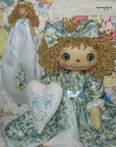 so happy to finish this Annie   and now on to completing some orders   ~   Joy Annie has her own   little 4 inch angel dressed with a ha...