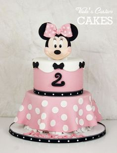 Minnie Mouse cake (chocolate). Handmade fondant Minnie. All edible.
