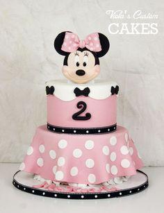 Minnie Mouse cake (chocolate). Handmade fondant Minnie. All edible.