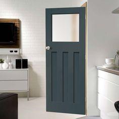 Prefinished Bespoke DX Glazed Door - Choose Your Colour 1930s Internal Doors, 1930s Doors, Internal Door Handles, Black Door Handles, Bathroom Door Handles, Bathroom Doors, Bathrooms, The Doors, Back Doors
