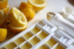 Freeze lemon or lime juice in an ice cube tray: Sometimes lemons and limes run one dollar each, and sometimes it's like some kind of citrus free-for-all, where you can get a cart-full for the same amount. Or maybe your backyard tree is producing an unbelievable amount. During these times of abundance, save! Squeeze lemons or limes into the squares of an ice cube tray so you can use them for months to come—in sauces, soups, or drinks. Photo: Kylie Townsend/Getty Images