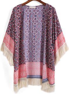 Kimono estampado flecos suelto-(Sheinside)