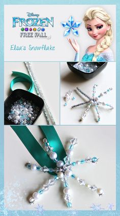 Elsa's Snowflake DIY necklace // Frozen Free Fall app for iOs: click image, for Android: http://di.sn/h01o