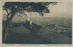 Postal antigua de barcelona vista general desde el tibidabo. En primer plano el Observatorio Fabra.