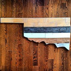 Oklahoma. Made by Pombo Art. Custom 2ft reclaimed wood ( order: avepom@yahoo.com )