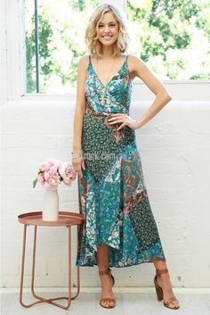 Paros Wrap Maxi Dress in Green | St. Frock