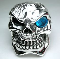 925 Sterling Silver Skull Ring Thailand Jewelry Art A35