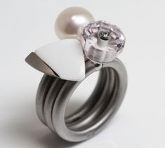 Swivel ring Bouton met parel | SWIVEL ringen van staal | goldline