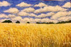 CIELO Y TRIGO El cielo es la estrella aquí! En concreto, el grupo de nubes, cayendo a través del cielo. Es casi como una metáfora oscura de Dios, la naturaleza, los campos mundanos y algo más! Extraordinaria.Texto Nancy Zola