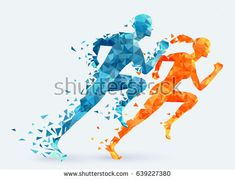 Man vs woman. Runners vector illustration. Feminism concept