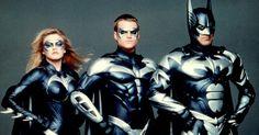 Batman e Robin (1997)   George Clooney (Batman) e Chirs O´Donnell como a Dupla Dinâmica são simplesmente ridículos em todos os sentidos. Veja estes uniformes. E, para completar, tem Alicia Silverstone como a Batgirl que não fica atrás.