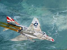 """""""On 6 March 1972, Garry Weigand and Bill Freckleton shot down a MIG-17. This painting shows them rolling in on the MIG, which had been engaged in a turning fight with Weigand's leader, who is seen at the top, unloading and extending."""" Air Fighter, Fighter Pilot, Fighter Aircraft, Fighter Jets, Air Vietnam, Vietnam War, Aviation Theme, Aviation Art, The Art Of Flight"""