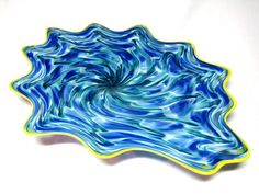 Hand Blown Glass Art Platter Bowl Wall Hanging 61 | eBay