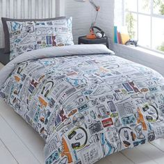 Details about ben de lisi home light grey world map print bedding bluezoo kids white gadget duvet cover and pillow case gumiabroncs Image collections
