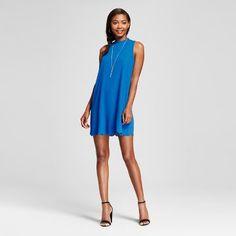 Women's Scallop Hem Mock Neck Shift Dress - Le Kate (Juniors')