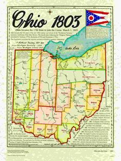 Ohio became the state on March State history map. Genealogy Research, Family Genealogy, Youngstown Ohio, Akron Ohio, Lorain Ohio, Ohio Map, The Buckeye State, Family Research, Old Maps