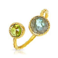 Bling Jewelry Labradorite Peridot Open Wrap Around Ring Gold Plated Silver ** You can get additional details at the image link.
