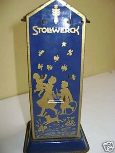 Stollwerck Tin-Mechanical Bank.Blue and gold lithographed