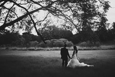 wedding photo in a field