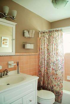 bathroom redo grouted peel and stick floor tiles - Pink Brown Bathroom Decorating Ideas